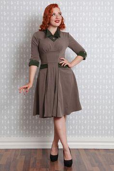 Miss Candyfloss Brown Green 1940's Repro Hannah Sandy Pleated Fall Dress XS-2X #MissCandyfloss #40sPleatedDress #GreenDress #PinUpClothing  More at ... http://stores.ebay.com/bearflag13547/Miss-Candyfloss-/_i.html?_fsub=1225094019