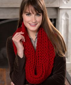 """Make-It-Quick Loop Cowl RED HEART® Lisa Big: 1 ball of 00130 Cherry  Knitting Needles: 10 mm [US 15]. Yarn needle. Size: Finished Size:  (13"""") wide x  (38½"""") long."""