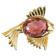 1940s Amethyst Crystal Fish Brooch