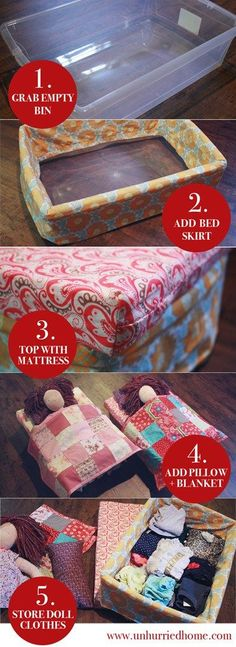 A simple DIY doll bed made from a plastic bin. Lots of room inside to store doll clothes! Great for Waldorf Dolls, American Girls dolls, and any doll that your child treasures.-- Use for inspiration