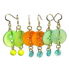 Button Dangle Earrings for Summer Repurposed by BluKatDesign