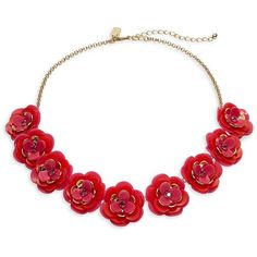 Kate Spade New York Rosy Posies Floral Statement Necklace ($128) ❤ liked on Polyvore featuring jewelry, necklaces, pink, floral jewellery, statement bib necklace, glass necklace, kate spade jewelry and kate spade