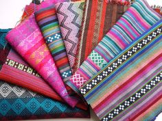 Colorful Andean Aguayo Woven Fabric by the Yard, Peruvian Textiles