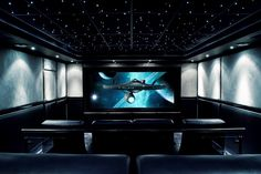 .drop ceiling with constellation and glass wall between rows