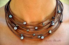Pearl and Leather Necklace - Multi-Strand Brown with Peacock Pearls - Pearl and Leather Jewelry Collection