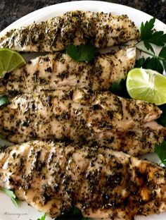 Grilled lime herb fish with truffle oil is an easy way to grill fish with maximum flavor. any firm flesh fish will do and grilling the fish gives the fish a Grilled Fish Recipes, Grilled Seafood, Tilapia Recipes, Grilling Recipes, Meat Recipes, Seafood Recipes, Grilled Salmon, Recipies, Dinner Recipes