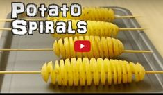 How to make a spiral potato tornado. Food life hacks. Using a potato and a kebab skewer you can make a spiral slice all the way along a ...