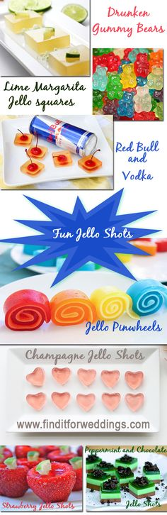 The best jello shot recipes for your wedding or next party. www.finditforweddings.com alcoholic jello shot recipes