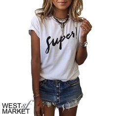 "-IN STOCK-  Super Tee White tee with ""super!"" across the front. Not basic Tshirt material- this tee is lighter and softer! A blogger fave! PLEASE COMMENT TO BUY THIS LISTING with the SIZE you would like, I will make a separate listing for you! West Market SF Tops Tees - Short Sleeve"