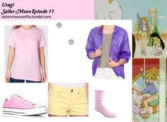Forever 21 colored mid-rise denim short in Yellow American Apparel unisex fine jersey short sleeve t-shirt in Pink Converse Chuck Taylor All-Stars in Pink Forever 21 Rhinestone studs Wigwam Slouch Socks American Apparel Unisex lightweight taffeta emergency jacket in Purple Haze   Odango buns hair tutorial:http://www.youtube.com/watch?v=TWWuPYdLr14feature=related