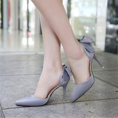 Women's Heel Pumps Silk Bow High Heels Stiletto Bridal Bridesmaid for Women Prom Shoes