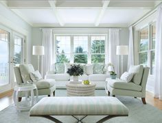 """Paint Color: The walls are done in """"Horizon by Benjamin Moore"""".  The trim color is """"Atrium White by Benjamin Moore""""."""