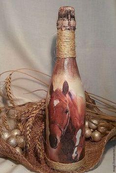 """Новый год 2015 ручной работы. Ярмарка Мастеров - ручная работа Бутылка шампанского """"Лошадь"""". Handmade."""