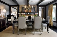 Specially cut mirror sections added some verve to the stained timber mantel in the dining room painted in taupe grey and dramatic matte black. Home Design Decor, House Design, Interior Design, Home Decor, Cool Furniture, Furniture Design, Dining Room Paint, Dining Rooms, Traditional Interior
