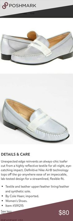 Cole Haan Nike Air Monroe Reflective Penny Loafer These are the Monroe in Argento silver. They are reflective; i.e. they glow in the dark. They are cushioned with concealed Nike Air technology. Size 7. NWOT. No Box Cole Haan Shoes Flats & Loafers