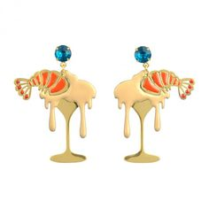 Shrimp cocktail and blue crystal earrings