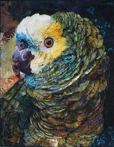 Art quilt by Roxanne Nelson - Ruffled Feathers. absolutely amazing...all done in fabric!