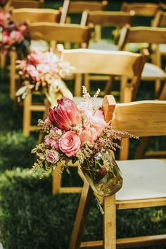 Mason jar bouquet over the chair for a vintage or rustic wedding style ❤ Streetlight Republic ❤ Protea Wedding, Floral Wedding, Wedding Colors, Wedding Styles, Wedding Flowers, Wedding Ideas, Wedding Poses, Wedding Pictures, Wedding Details
