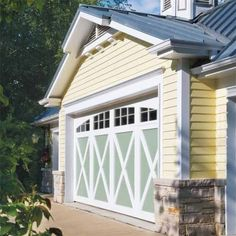 Refresh the garage door by painting it an accent color that ties in with your home's exterior. Solo 100% Acrylic Interior/Exterior Latex works on wood, metal, or vinyl doors. About $55 per gallon; sherwin-williams.com