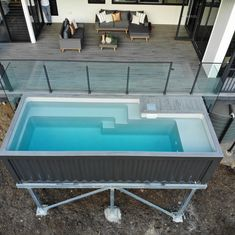 Shipping Container Pools are above ground pools built from shipping containers with a fiberglass pool insert. Each pool is pre-assembled with the plumbing under the decking and with the chid safety door and stairs, you would not need any fencing. Small Backyard Pools, Small Pools, Swimming Pools Backyard, Swimming Pool Designs, Container Home Designs, Container Homes, Shipping Container Swimming Pool, Swiming Pool, Fiberglass Pools