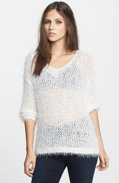 Tildon Textured Open Knit Pullover White Opal Medium from Nordstrom on shop.CatalogSpree.com, your personal digital mall.