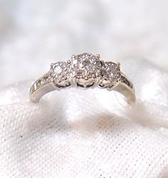 Vintage Three Diamond Ring with Halo Setting in 14K White Gold on Etsy, $595.00