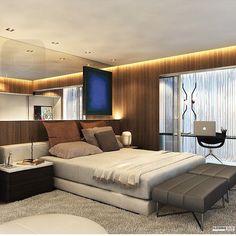 Quarto casal, destaque para a madeira que aqueceu e espelho que iluminou e transformaram este ambiente em um lugar acolhedor e aconchegante!! Projeto by @hildebrandsilva #bedroom #arquitetura #design #wood #madeira #homedecor #espelho #glamourama #decor #instaarch #archlovers #interiores #arquiteta #arquiteto #architecte #instadesign #quarto #decora #instadecor #archdaily #interiors #decoração #home #fabiarquiteta #fabiarquitetainspira