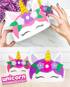This unicorn headband craft for kids is an easy activity that's perfect for toddlers, preschoolers and kindergarten children. Diy Unicorn, Unicorn Kids, Unicorn Headband, Unicorn Crafts, Unicorn Mask, Magical Unicorn, Craft Projects For Kids, Fun Crafts For Kids, Easy Toddler Crafts