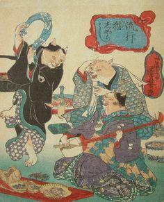 <流行 猫じゃらし:RYUKO NEKO JARASHI> DANCING CATS BY NEKO JARASHI KUNIYOSHI UTAGAWA 1798-1861 Last of Edo Period