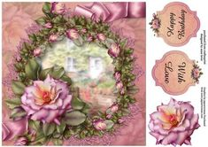 Beautiful Rose Pink on Craftsuprint designed by Anne Lever - This lovely large square quick topper will fit an 8x8 card. It has decoupage and two greetings. The greetings are happy birthday and with love.  - Now available for download!