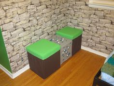 Brennan, an avid player of Minecraft went to camp and came home to his new room. Wall paper from Rona. Storage shelf, Brunkrissla d. Boys Minecraft Bedroom, Minecraft Room, Minecraft Crafts, Minecraft Party, Minecraft Stuff, Minecraft Classroom, Minecraft Storage, Minecraft Furniture, Minecraft Skins