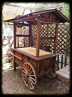 Beautiful gypsy cart♥ Vendor Cart, Gypsy Trailer, Food Stall, Flower Cart, Mobile Shop, Gypsy Wagon, Market Displays, Wooden Crafts, Wood Cart
