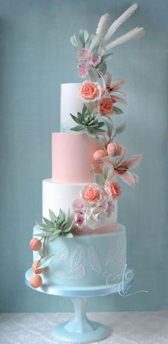 Wedding cake iced in pastel mint, peach and white with watercolour and gold accents, and a cascade of sugar florals, fruit and foliage. The sugar and hand piped feathers are inspired by Falcon Manor's beautiful light fittings! Amazing Wedding Cakes, Elegant Wedding Cakes, Elegant Cakes, Wedding Cake Designs, Rustic Wedding, Gorgeous Cakes, Pretty Cakes, Cupcake Torte, Peach Cake