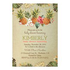 tropical pineapple beach lights baby shower card