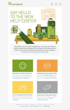 Great email newsletter design from Zendesk.com Email Newsletter Design, Email Newsletters, Newsletter Templates, Direct Mail Design, Email Design Inspiration, Design Ideas, Say Hello, Email Marketing, Communication