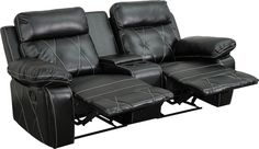 Reel Comfort Series 2-Seat Reclining Black Leather Theater Seating Unit with Straight Cup. Complete your theater room with this comfortable theater style seating. Reclining furniture offers the best in relaxation for you to kick up your feet to watch TV, work on a laptop, or to just hang out with family and friends. This theater set features elegantly styled stitching throughout and plush upholstered arms. The cup holder wedge has a deep storage compartment to keep up with your remotes and…