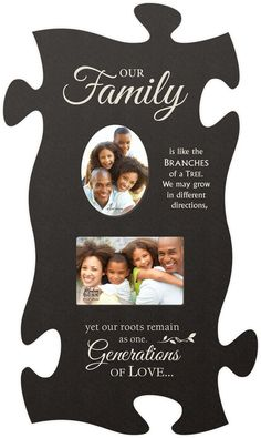 """Our Family Photo Puzzle Frame """"Our Family is like the branches of a tree. We may grow in different directions, yet our roots remain as one. Generations of love …"""" This puzzle frame makes a great gift for that special someone giv Family Reunion Decorations, Family Reunion Favors, Family Reunion Activities, Family Reunions, Youth Activities, Family Picture Frames, Family Photos, Puzzle Frame, Thing 1"""