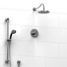 Riobel, Fidji shower with diverter, hand shower rail and shower head Bathroom Plumbing, Plumbing Fixtures, Bathroom Renos, Bathroom Renovations, Bathrooms, Rain Head, Shower Rail, Master Shower, Master Bath
