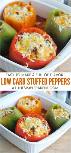 Low Carb Stuffed Peppers Recipe - Make these keto stuffed peppers with ground beef, chicken or turkey for an easy and healthy dinner that is family friendly! Theyre oven baked with melted cheese for tons of flavor! easy dinner recipes for family Healthy Drinks, Healthy Dinner Recipes, Low Carb Recipes, Diet Recipes, Chicken Recipes, Snacks Recipes, Easy Recipes, Salad Recipes, Recipe Chicken