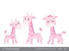 Pink Giraffe Digital Clip Art от viveradesign на Etsy, $2.90