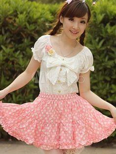 Cute Polka Dot Pink Pleated Lolita Skirt - Milanoo.com