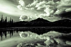 #alaska #mountains #landscape #reflection #travel #latergram #water #earth #nature #clouds #blackandwhite #bw by navidbaraty