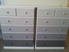 Grey Ombre Painted Chest of Drawers - thanks to hubby for the painting