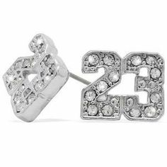 Platinum Iced Silver Finish Cz Michael Jordan Number 23 Nba Stud Earrings By The Ice Empire 3 95 A Must Have For Any Chicago Bulls Fan Or Micheal