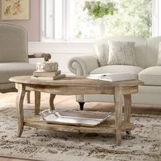 Lark Manor Francoise Solid Wood Coffee Table with Storage Oval Coffee Tables, Solid Wood Coffee Table, Coffee Table With Storage, Table Storage, Wood Storage, Wood Table, Living Room Sets, Living Room Furniture, Living Room Designs