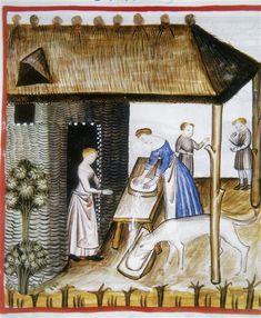 Making cheese (fol. 60r), Tacuinum Sanitatis (ÖNB Codex Vindobonensis, series nova 2644), c. 1370-1400