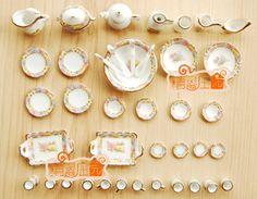 Doll house mini dollhouse furniture tea set flower world 40