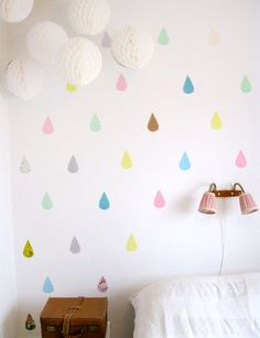 Heart Handmade UK: Pastel Tear Drop Paper Cutting Wall Decor In A Bedroom with Rai Rai Blog
