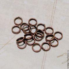 Купить колечко двойной крутки, 5 мм, цинковый сплав, цвет медь, 50 шт