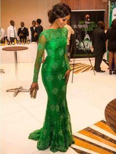 2015 Green Lace Trumpet/Mermaid Long Sleeves High Neck Applique Floor-length Satin Dress